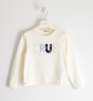 Maglietta girocollo in jersey stretch con scritta, perle e strass sarabanda PANNA-0112