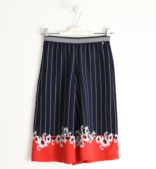 Pantalone palazzo in crêpe stampato sarabanda NAVY-3885