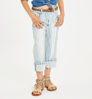 Pantalone in drill di cotone fantasia riga a sdraio sarabanda PANNA-0112