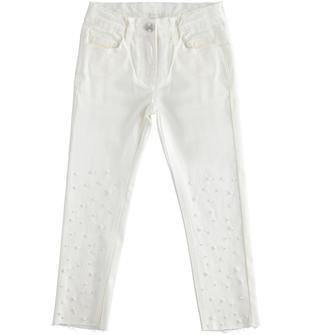Pantalone in twill stretch con perle sarabanda PANNA-0112