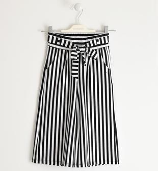 Pantalone modello crop con cintura sarabanda NERO-0658