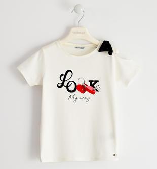 Romantica t-shirt in jersey con fiocco sarabanda PANNA-0112