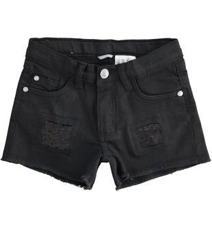 Shorts con rotture e paillettes sarabanda NERO-0658