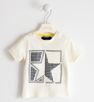 T-shirt 100% cotone con stella sarabanda PANNA-0112