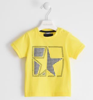 T-shirt 100% cotone con stella sarabanda GIALLO-1444