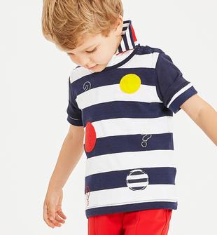 T-shirt in jersey 100% cotone con cerchi colorati sarabanda NAVY-3854