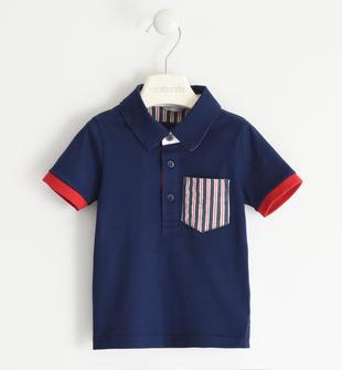 Polo in jersey 100% cotone con taschino rigato sarabanda NAVY-3854