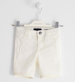 Pantalone corto in twill stretch di cotone sarabanda PANNA-0112