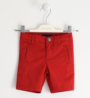 Pantalone corto in twill stretch di cotone sarabanda ROSSO-2253