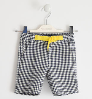 Pantalone corto 100% lino a quadretti sarabanda NAVY-3885