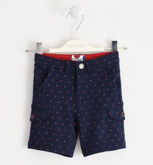 Pantalone corto in felpa con piccoli pois sarabanda NAVY-ROSSO-6MQ3