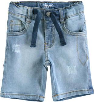 Pantalone corto in denim stretch con coulisse sarabanda BLU CHIARO LAVATO-7310