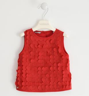 Camicia smanicata con cuori applicati sarabanda ROSSO-2256