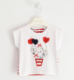 Graziosa t-shirt con grafiche diverse sarabanda BIANCO-0113