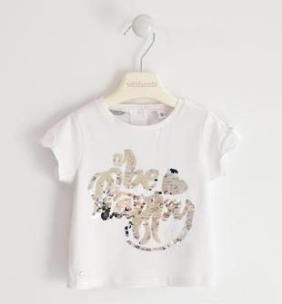 T-shirt in jersey stretch con ricamo di paillettes reversibili sarabanda BIANCO-0113