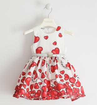 Romantico abito in popeline stretch con cuori sarabanda ROSSO-2256