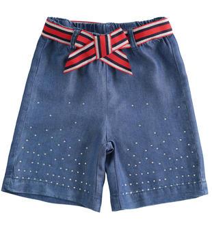 Pantalone corto in lyocell con strass e fusciacca sarabanda STONE WASHED-7450
