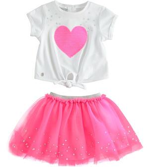 Grazioso completo t-shirt con cuore e gonna in tulle sarabanda PINK FLUO-5828