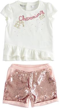Completo t-shirt e short con paillettes sarabanda ROSA CHIARO-2617