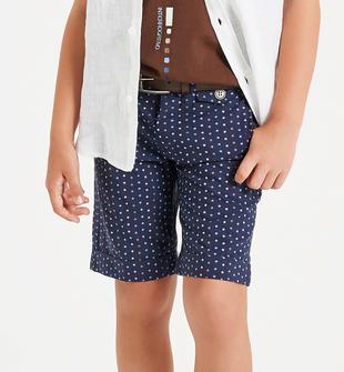 Pantalone corto 100% cotone con micro pois sarabanda NAVY-3854