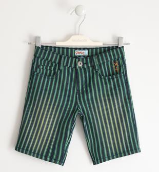 Pantalone corto in tessuto effetto denim rigato sarabanda VERDE-5034