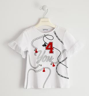 T-shirt con manica in chiffon sarabanda BIANCO-0113