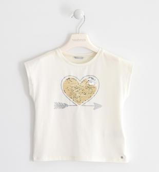 T-shirt in jersey stretch con cuore di paillettes reversibili sarabanda PANNA-0112