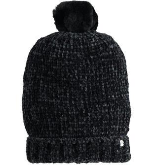 Cappello in ciniglia modello cuffia sarabanda NERO-0658