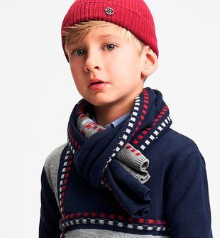Sciarpa in tricot a blocchi colore sarabanda NAVY-3885