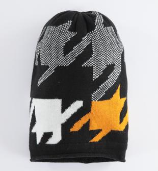 Cappello modello cuffia dalla fantasia geometrica sarabanda NERO-0658