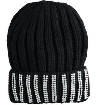 Cappello modello cuffia con risvolto di strass sarabanda NERO-0658