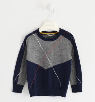 Maglia in tricot lavorazione geometrica sarabanda NAVY-3885