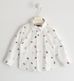 Camicia stampa all over disegni sarabanda BIANCO-MULTICOLOR-6LM5