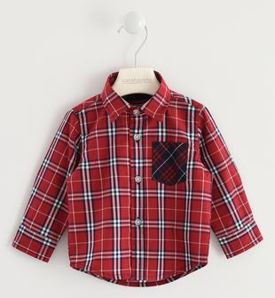 Camicia in popeline a quadri 100% cotone sarabanda ROSSO-2536
