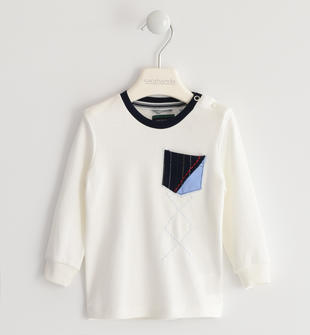 Maglietta girocollo 100% cotone con taschino e ricamo sarabanda PANNA-0112