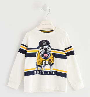 Maglietta girocollo 100% cotone con grintoso cagnolino sarabanda PANNA-0112