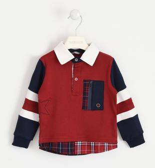 Polo 100% cotone con inserto finta camicia sarabanda ROSSO-2536