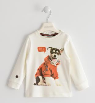 Maglietta girocollo 100% cotone con simpatico cucciolo sarabanda PANNA-0112