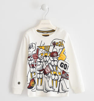 Maglietta girocollo 100% cotone con simpatiche stampe sarabanda PANNA-0112