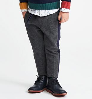 Pantalone in maglia con bande laterali a contrasto sarabanda GRIGIO MELANGE SCURO-8994