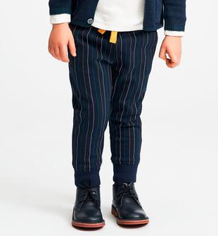 Pantalone in felpa effetto gessato multicolore sarabanda NAVY-MULTICOLOR-6LM3