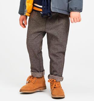 Caldo pantalone fantasia micro pied de poule sarabanda MARRONE-0854