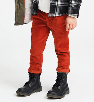 Pantalone in velluto mille righe sarabanda ARANCIO-2237