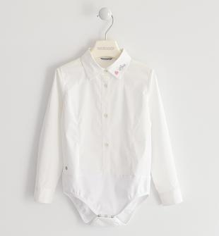 Camicia body in popeline di cotone sarabanda BIANCO-0113