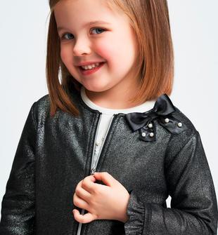 Graziosa giacca in eco pelle lurex sarabanda NERO-ALLOVER TRANSPARENT GLITTER -6X27