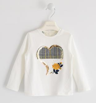 T-shirt in jersey con ricamo paillettes sarabanda PANNA-0112