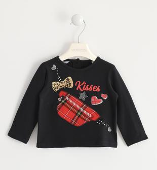 T-shirt girocollo con patch scozzese sarabanda NERO-0658