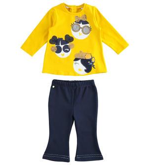 Completo maxi maglia e leggings a campana sarabanda GIALLO-1615