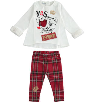 Completo maxi maglia e leggings jacquard sarabanda ROSSO-2251