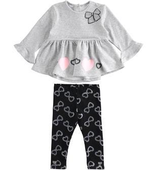 Completo maxi maglia e leggings con cuori sarabanda GRIGIO MELANGE-8992